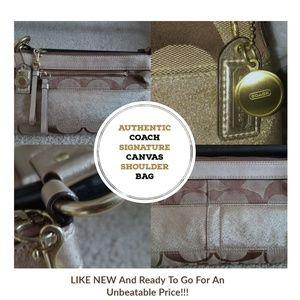 COACH Signature Tan and Gold Handbag - Like New!